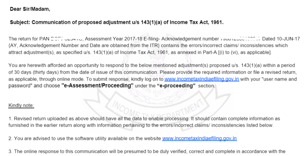 Notice us 143(1)(a) of income tax act